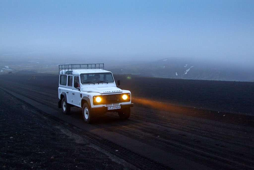 Land Rover Defender in the fog in Iceland