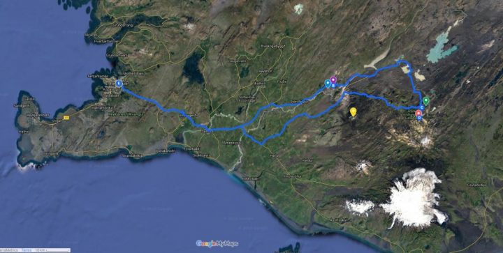 Landmannalaugar Jeep Tour map
