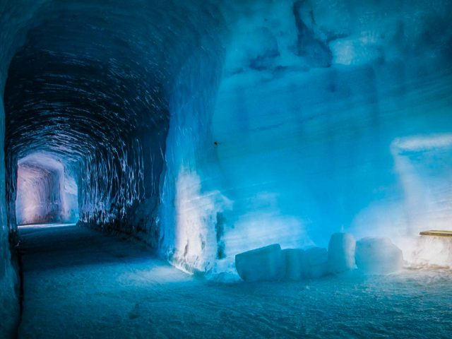 A man made ice cave in the Langjokull glacier