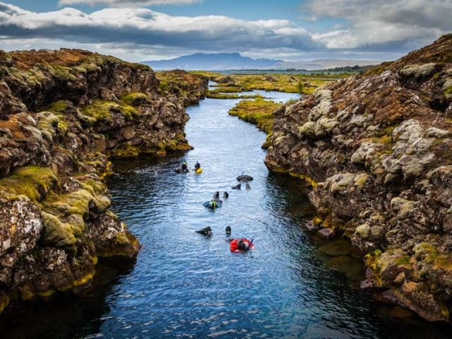 Snorkeling in Silfra in Iceland