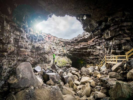 Exploring the lava cave from inside