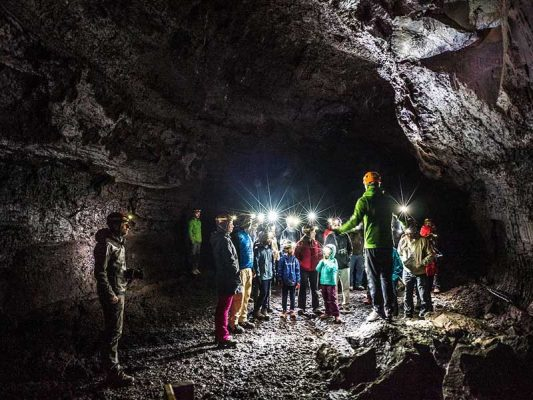 Visitors in the lava cave