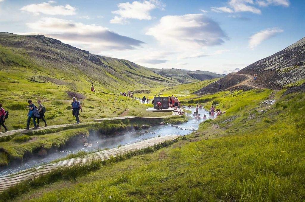 Bathing in a hot river in Reykjadalur