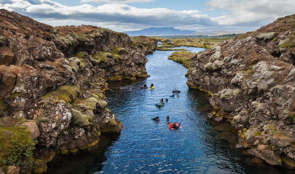 Snorkeling between tow continents is a very popular things to do in Iceland.