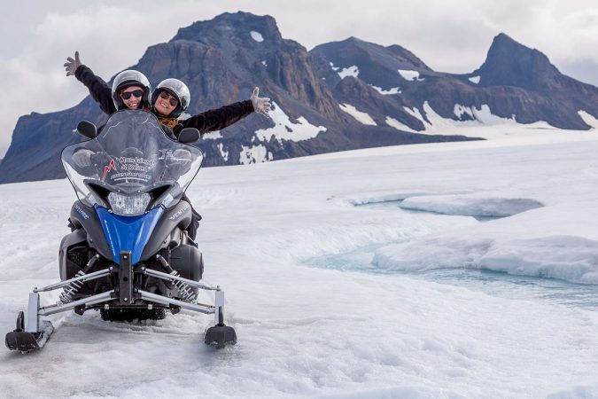 Snowmobiling on the glacier in iceland