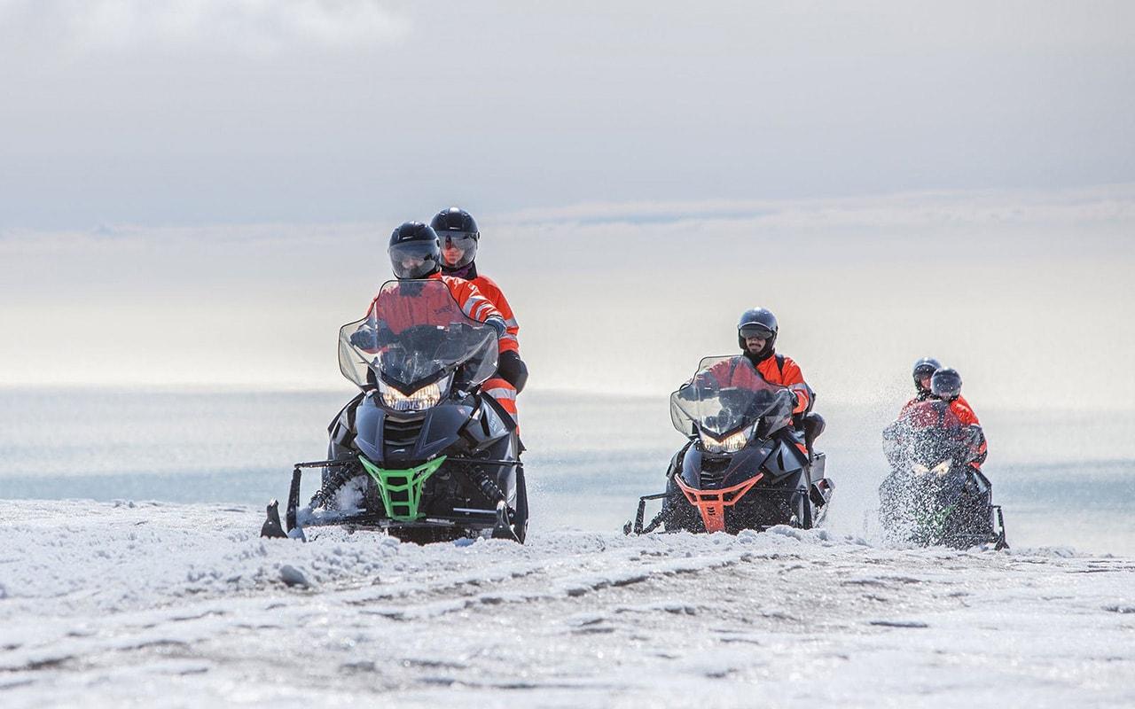 Snowmobiling on Myrdalsjokull glacier