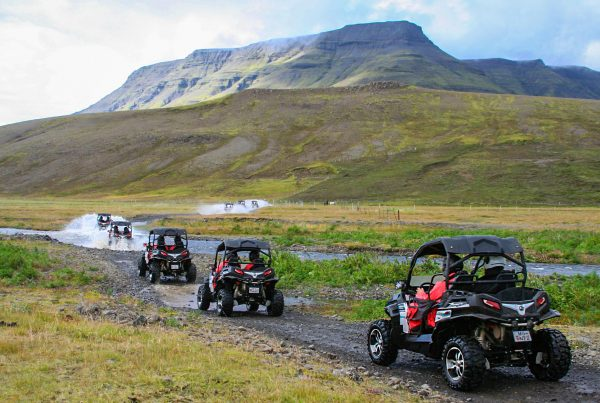 Off-road Buggy driving through stunning landscapes