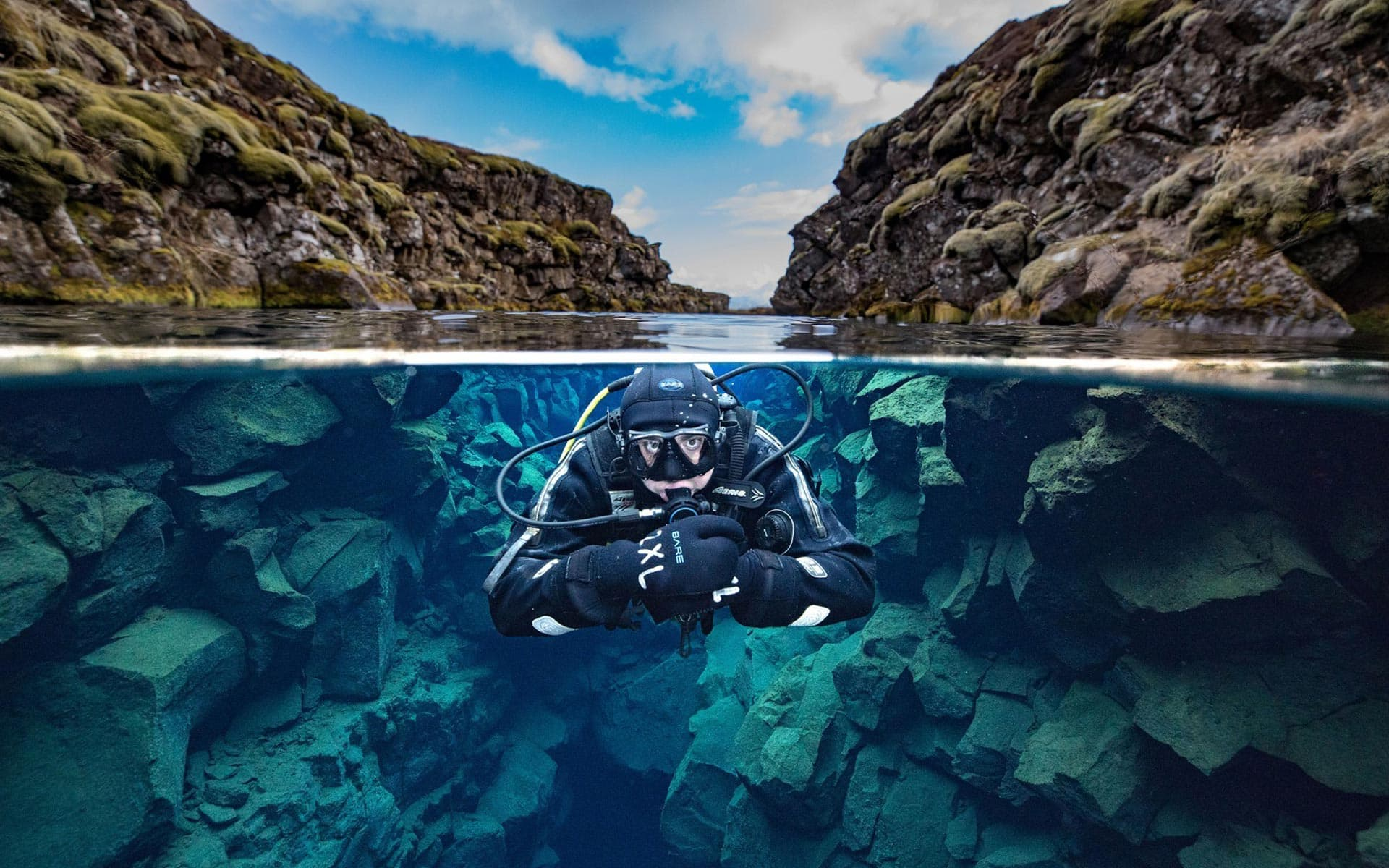 Diving between two continental plates in Silfra fissure
