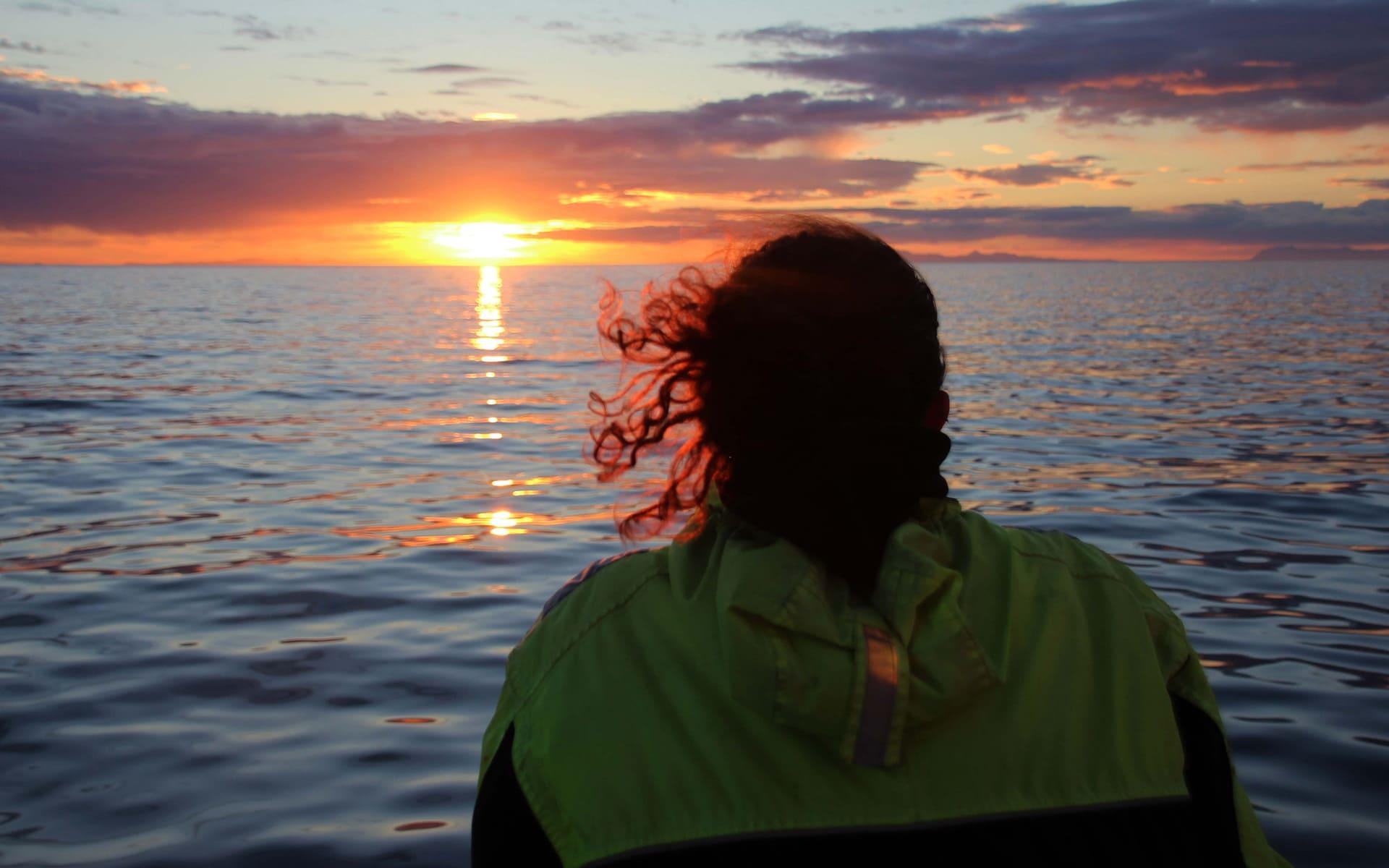 Midnight Sun at Faxafloi Bay