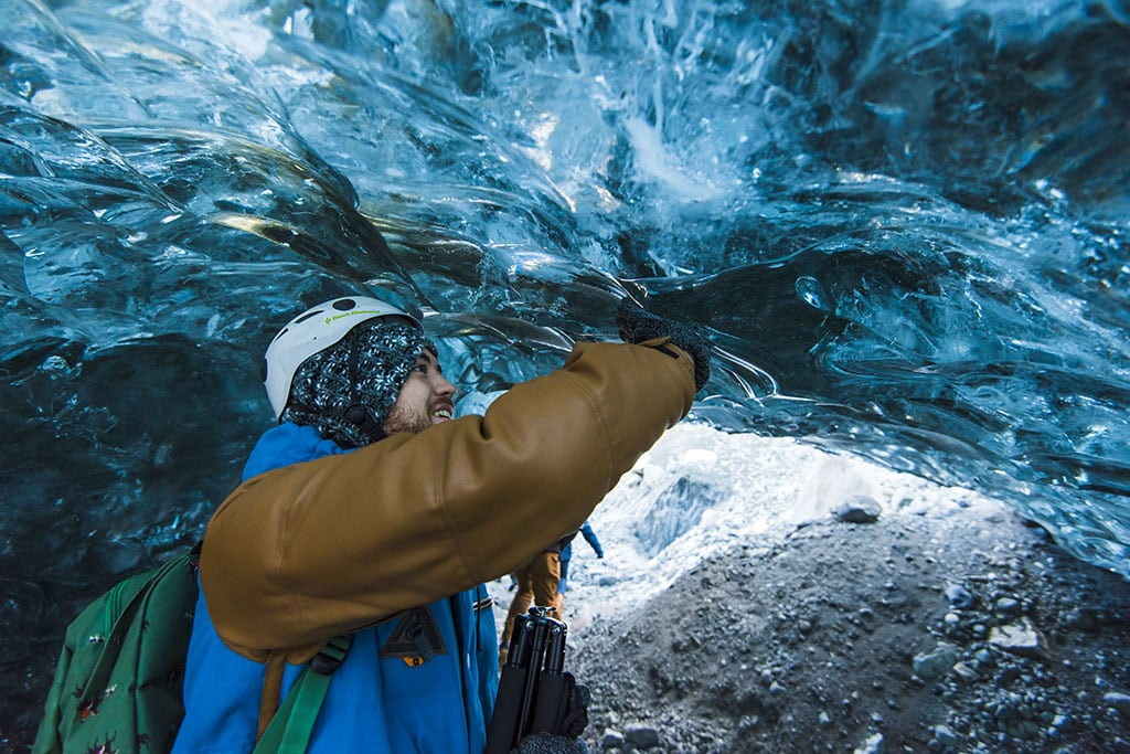 Exploring a natural ice cave in Iceland