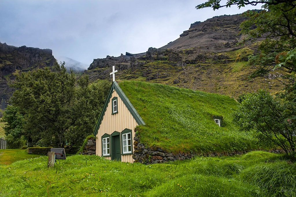 Hofskirkja is the last of the old churches built in traditional turf style