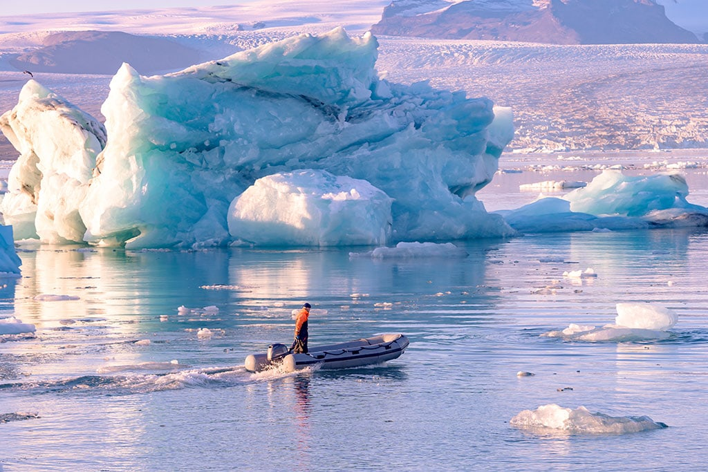 Jokulsarlon glacier lagoon is Iceland's deepest and most spectacular glacial lake