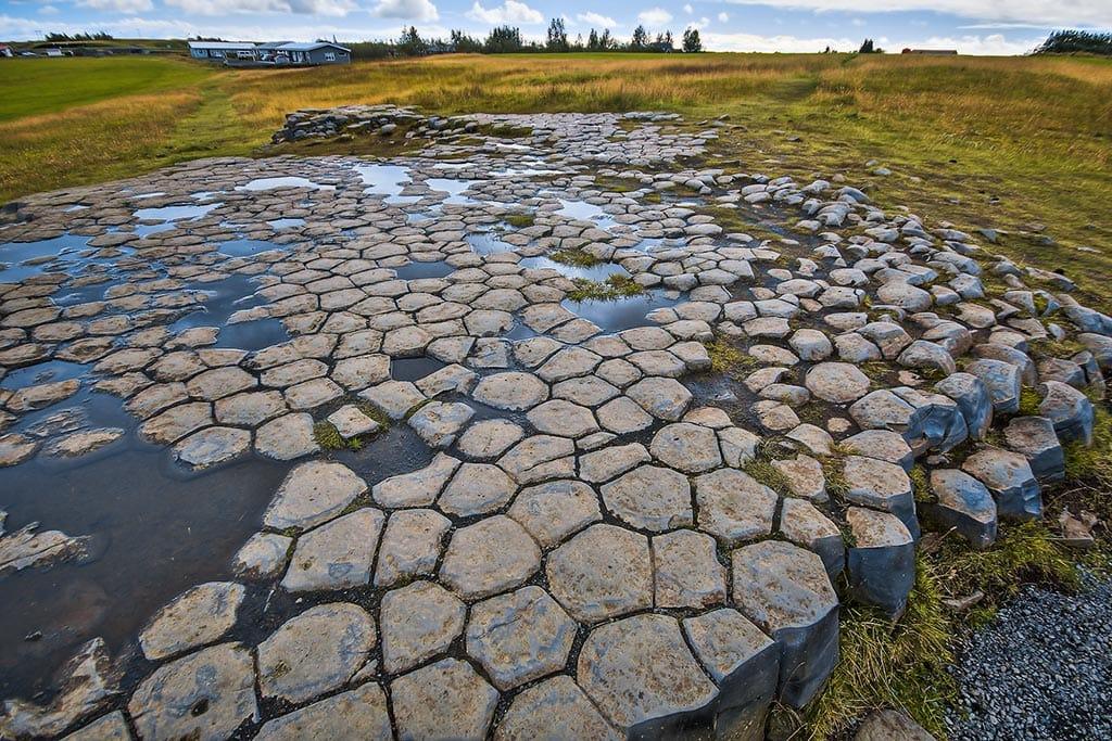 Kirkjugólf columnar basalt stone slabs