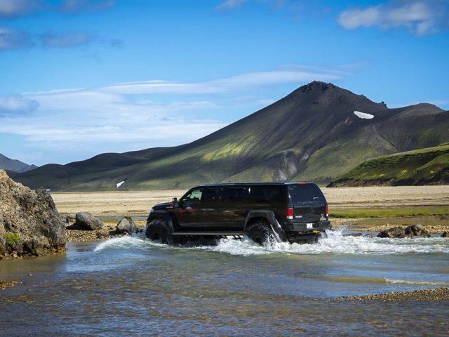 Landmannalaugar Super Jeep Tour - river crossing