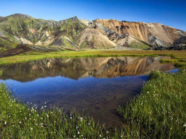 Landmannalaugar on a Super Jeep Tour - mirroring water and colorful mountains