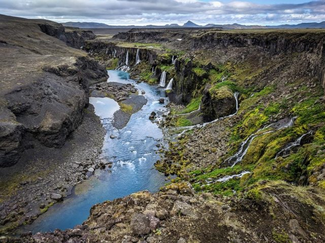 Sigöldugljúfur canyon and waterfall on a Landmannalaugar super jeep tour