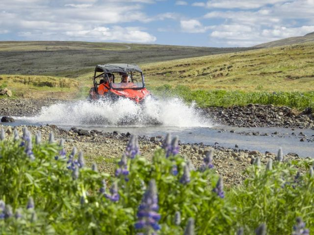 Splashing in a river a Buggy in Iceland