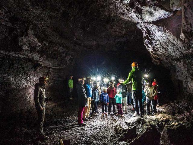 Visitors in the lava cave