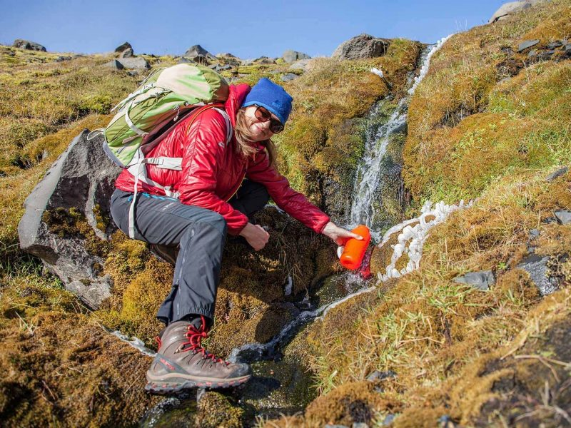 drinking from a creek - Glacier panorama trail Iceland
