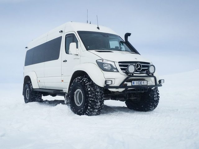 Our Mercedes Super Jeep on the glacier