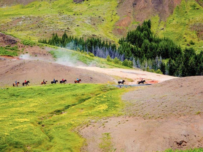 Horse riding at the hot springs in Iceland