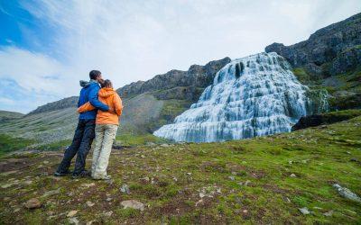 Iceland travelers at Dynjandi waterfall