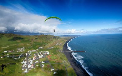 Paragliding tandem flight in South iceland