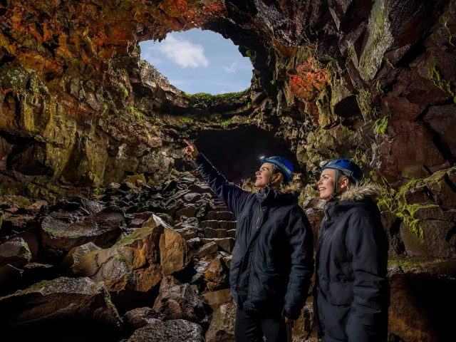Visiting the Lava Tunnel in Iceland